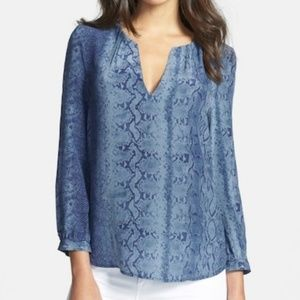 Joie Blue Snake Print Silk V-Neck Blouse
